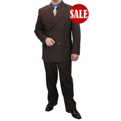 SALE! Sharp Hand Tailored 2pc Men Double Breasted Dress Suits - BROWN - Triple Blessings