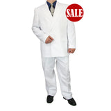 SALE! Sharp Hand Tailored 2pc Men Double Breasted Dress Suits - WHITE - Triple Blessings