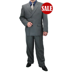 SALE! Sharp Hand Tailored 2pc Men Double Breasted Dress Suits - GRAY - Triple Blessings