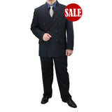 SALE! Sharp Hand Tailored 2pc Men Double Breasted Dress Suits - NAVY - Triple Blessings