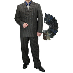 Sharp Luxurious 2pc Men's Double Breasted Pinstripe Suit w/1 Pair of Socks - CHARCOAL GRAY - Triple Blessings