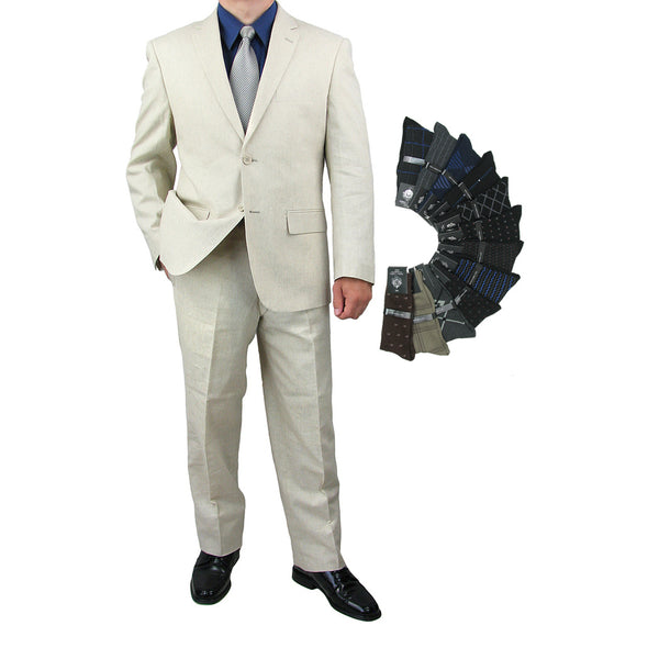 Sharp Hand Tailored Mens 2pc. 2 Button Linen Blend Suit w/1 Pair of Socks - NATURAL - Triple Blessings