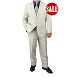 SALE! Sharp Hand Tailored Mens 2pc. 2 Button Linen Blend Suit - NATURAL - Triple Blessings