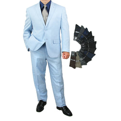 Sharp Hand Tailored Mens 2pc. 2 Button Linen Blend Suit w/1 Pair of Socks - BLUE - Triple Blessings