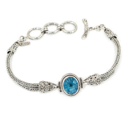 Precious Sarda .925 Sterling Silver Blue Topaz Fancy Cut Toggle Bracelet - Triple Blessings
