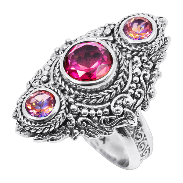 Precious Sarda .925 Silver Fast Casual Quartz and Rascal Pink Topaz Ring