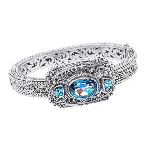 Precious Sarda .925 Sterling Silver Blueicious Quartz Blue Topaz Hinged Bracelet - Triple Blessings