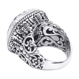 Precious Sarda .925 Sterling Silver Black Indonesian Coral Handcraft Ring - Triple Blessings