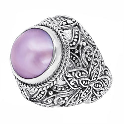 Precious Sarda .925 Sterling Silver Pink Mabe Pearl Handcrafted Ring - Triple Blessings