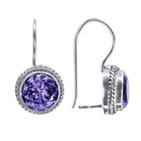 Precious Sarda .925 Sterling Silver Amethyst I-Hook Latch Earrings - Triple Blessings