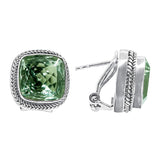 Precious Sarda .925 Sterling Silver Prasiolite Omega Post Earrings - Triple Blessings