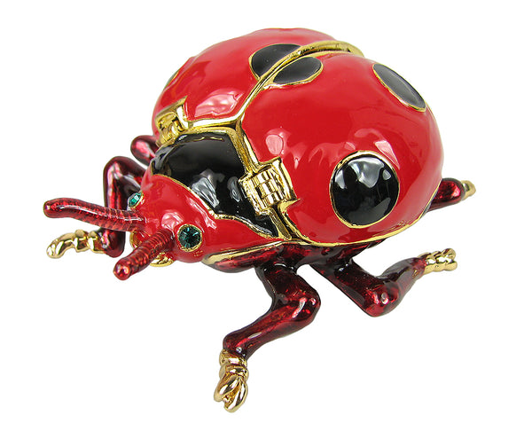 Lovely Ladybug Swarovski Crystal Trinket Box - Red - Triple Blessings