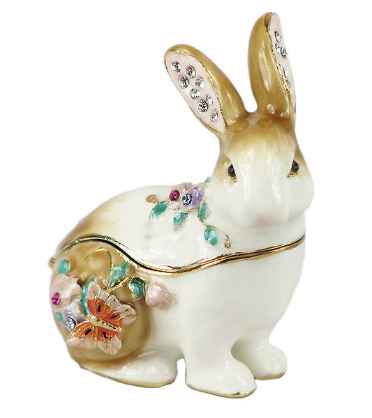 Lovely Rabbit Swarovski Crystal Trinket Jewelry Box - Triple Blessings