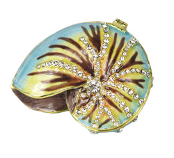 Lovely Sea Shell Swarovski Crystal Trinket Box - Blue - Triple Blessings