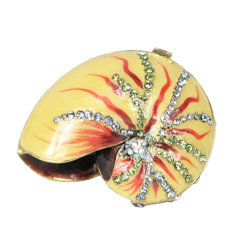 Multicolored Sea Shell with Swarovski Crystals Trinket Box