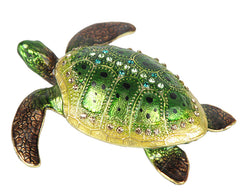 Lovely Rucinni Sea Turtle Swarovski Crystal Trinket Jewelry Box - Green - Triple Blessings