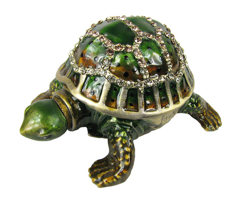 Lovely Rucinni Turtle w/Extended Neck Swarovski Crystal Trinket Box - Green - Triple Blessings