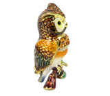 Lovely Rucinni Owl Swarovski Crystal Trinket Box - Brown - Triple Blessings