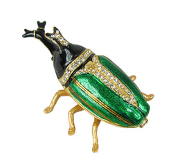 Lovely Rucinni Hercules Beetle Swarovski Crystal Trinket Box - Green - Triple Blessings
