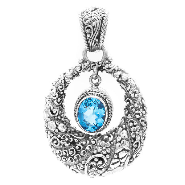 Precious Sarda .925 Sterling Silver Blue Topaz Handcrafted Pendant - Triple Blessings
