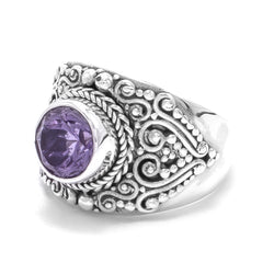 Precious Sarda .925 Sterling Silver Amethyst Handcraft Ring - Triple Blessings