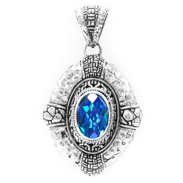 Precious Sarda .925 Sterling Silver Caribbean Quartz Handcrafted Pendant - Triple Blessings