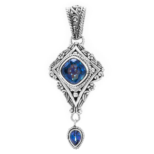 Precious Sarda .925 Silver Blue Mystic Quartz Sheer Luck Topaz Pendant - Triple Blessings