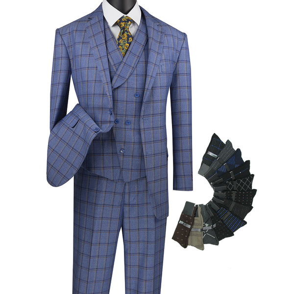 Sharp Luxurious 3pcs Windowpane Suit, Flat Front w/1 Pair Socks - BLUE - Triple Blessings
