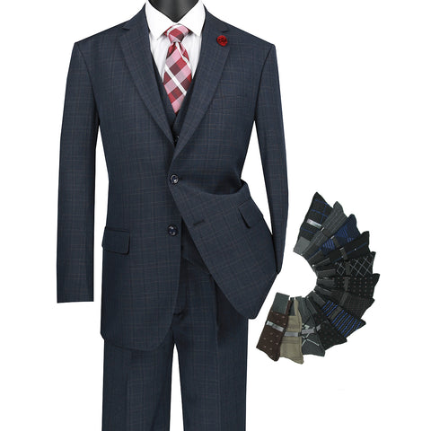 Sharp Classic 3pcs Single Breasted Windowpane Suit w/1 Pair Socks - BLUE