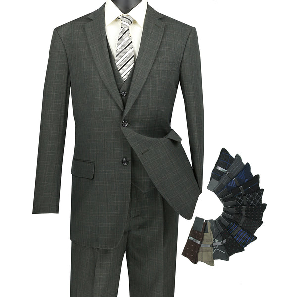 Sharp Classic 3pcs Single Breasted Windowpane Suit w/1 Pair Socks - OLIVE - Triple Blessings