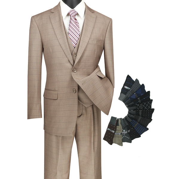 Sharp Classic 3pcs Single Breasted Windowpane Suit w/1 Pair Socks - TAN - Triple Blessings