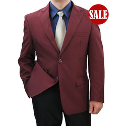 SALE! Sharp Hand-Tailored Men's Single Breasted 2-Button Dress Blazer - BURGUNDY - Triple Blessings