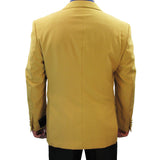 Sharp Hand-Tailored Men's Single Breasted 2-Button Dress Blazer w/1 Pair of Socks - GOLD - Triple Blessings