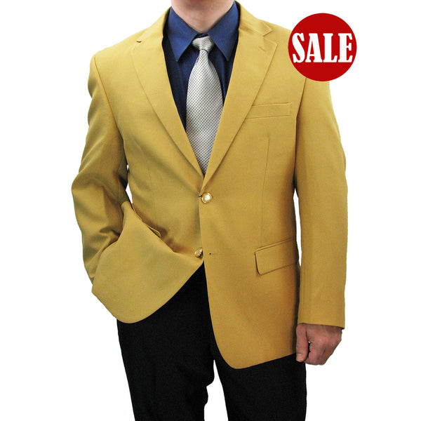 SALE! Sharp Hand-Tailored Men's Single Breasted 2-Button Dress Blazer - GOLD - Triple Blessings