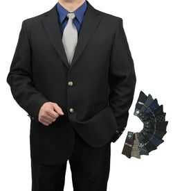 Men's Classic Fit Single Breasted 2-Button Blazer w/1 pair of Dress Socks - BLACK - Triple Blessings