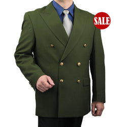 SALE! Men's Olive Classic Fit Double Breasted 6-Button Blazer - OLIVE - Triple Blessings