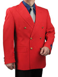 SALE! Men's Red Classic Fit Double Breasted 6-Button Blazer Jacket Sports Coat - RED - Triple Blessings