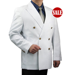 SALE! Men's White Classic Fit Double Breasted 6-Button Blazer Jacket Sports Coat - WHITE - Triple Blessings