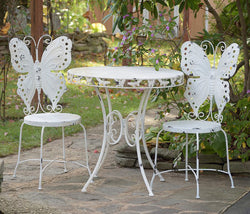 Unique Antique-look Butterfly Bistro Table and 2 Chairs Set - Triple Blessings