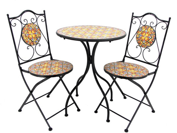 """Barcelona"" Mosaic Bistro Set - 1 Round Table, 2 Folding Chairs - Triple Blessings"