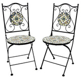 """Boston"" Mosaic Bistro Set - 1 Round Table, 2 Folding Chairs - Triple Blessings"