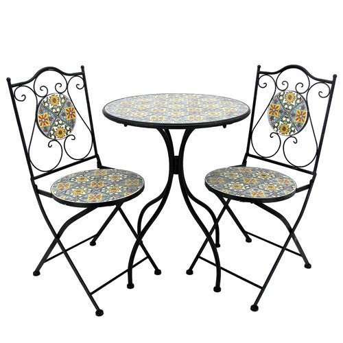 """Milan"" Mosaic Bistro Set - 1 Round Table, 2 Folding Chairs - Triple Blessings"