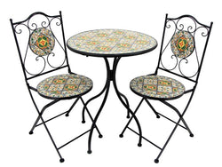 """Chicago"" Mosaic Bistro Set - 1 Round Table, 2 Folding Chairs - Triple Blessings"