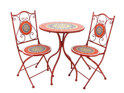 """Paris"" Mosaic Bistro Set - 1 Round Table, 2 Folding Chairs - Triple Blessings"