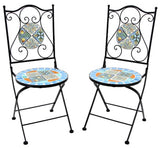 """Rome"" Mosaic Bistro Set - 1 Round Table, 2 Folding Chairs - Triple Blessings"