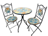 """Philadelphia"" Mosaic Bistro Set - 1 Round Table, 2 Folding Chairs - Triple Blessings"