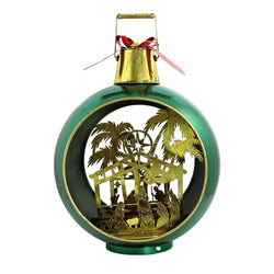 Large Iron Christmas Ball Ornament with Nativity Scene & LED Lights-GREEN - Triple Blessings