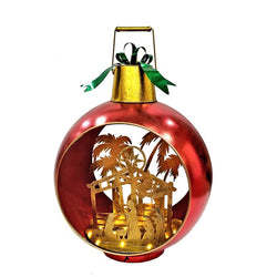 Large Iron Christmas Ball Ornament with Nativity Scene & LED Lights-RED - Triple Blessings