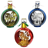 Large Iron Christmas Ball Ornament with Nativity Scene & LED Lights-BLUE - Triple Blessings