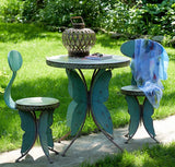 Vintage Old Style Galvanized Butterfly Bistro Set - Triple Blessings